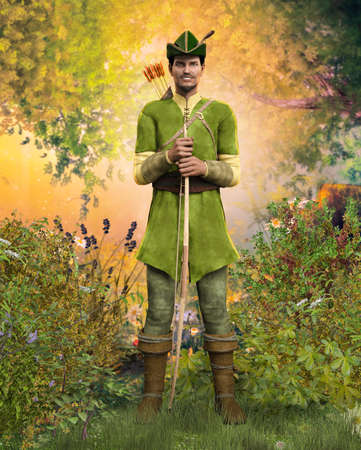 Heroic outlaw archer Robin Hood, from English folklore in the medieval Nottingham forest, 3d render. Imagens
