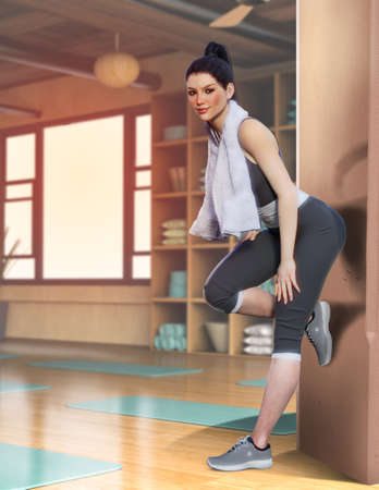 Young attractive yogi woman after yoga class in fitness studio, wearing sportswear, black pants and top, 3d render.