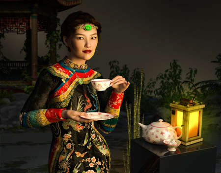 Beautiful young Asian Chinese woman or girl outside, drinking a cup of tea, dressed in traditional clothing, 3d render.