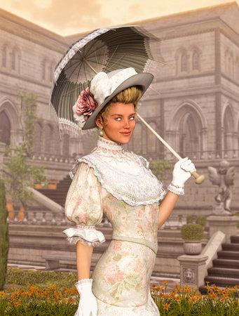 Elegant Jane Austen style woman strolling a courtyard on a sunny day, Regency dress, 3d render