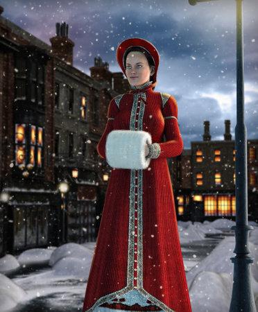 Elegant victorian Jane Austen style woman walking down a 19th century London street, winter night, 3d render.