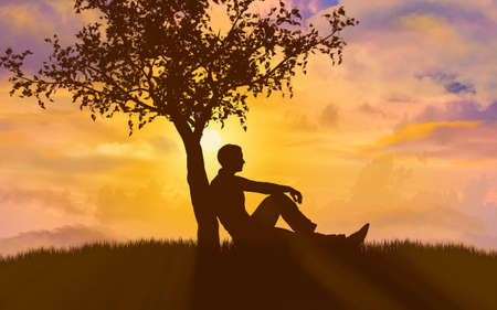 Silhouette of man leaning against a tree during sunset, 3d render. Archivio Fotografico