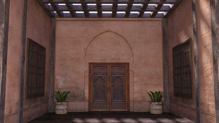 3D rendering of a traditional Arabic home facade with a front door in Morocco, 3d render Imagens