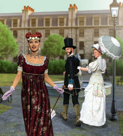 Victorian disloyal man with girlfriend looking at other woman and his angry girlfriend looking at him, 3d render.