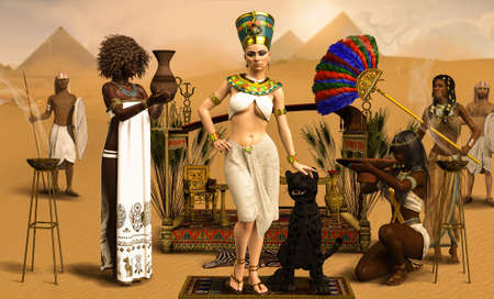 Royal Egyptian Pharaoh Cleopatra with servants in traditional costumes, 3d render.