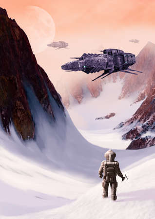 Futuristic scifi space ships hovering over an icy alien planet