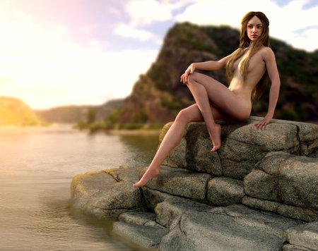 Lorelei siren of Germanic legend whose singing lures Rhine River boatmen to destruction on a reef, 3d render.