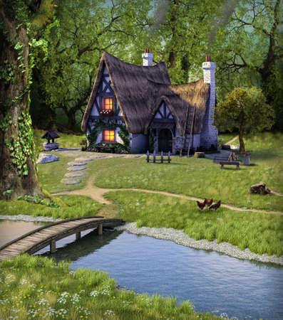Idyllic fantasy fairytale cottage hidden in a deep forest, 3d render.