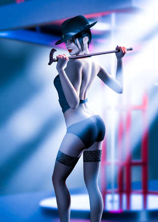 Sexy female private dancer with a cane doing a performance on stage of a strip club, 3d render.
