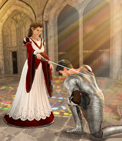 Young fairytale princess knights a young medieval knight with a sword into knighthood in front of the entrance to a cathedral, 3d render. Archivio Fotografico