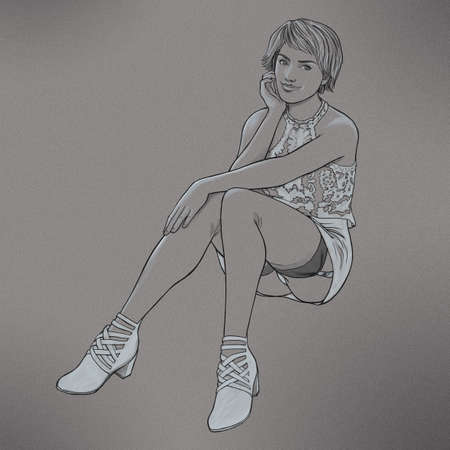 Drawing of a beautiful young woman sitting wearing a short dress and stockings looking into the camera.