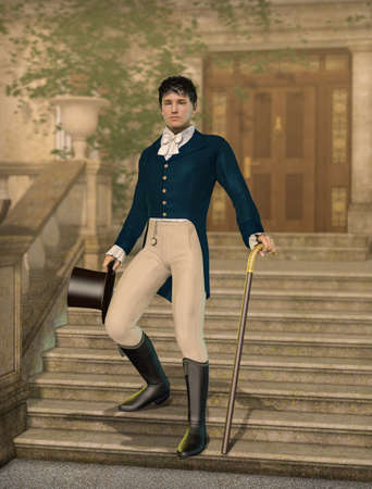 Elegant young gentleman dandy dressed in Regency fashion holding a hat and walking cane on the footsteps to a impressive mansion, 3d render. Archivio Fotografico