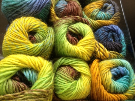 Skeins of colorful Yarn photo