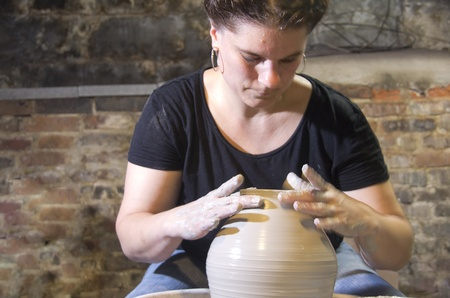 Woman making pottery Stock fotó