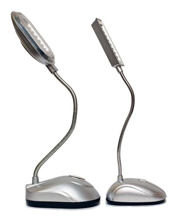 Composition from two desk lamps on a white background photo