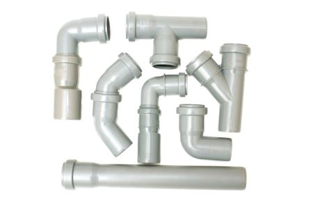 sewer water: Set of sewer pipes on a white background