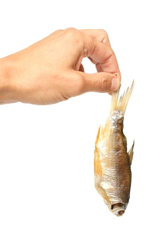 Dried fish in a hand photo