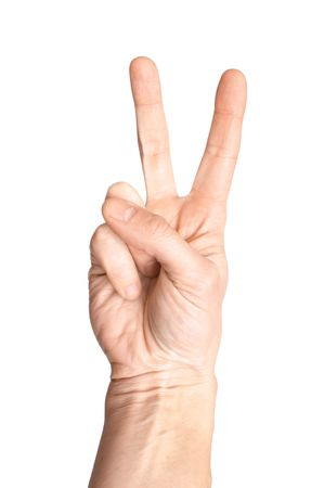 Victory sign on a white background