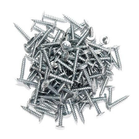 Screws on a white background close up photo