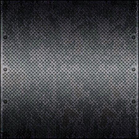 treadplate: Dirty cellular metal surface close up