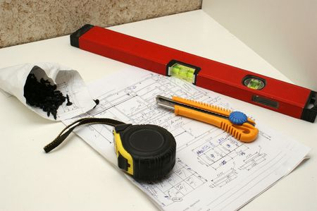 The working tool on a standard sheet with the scheme Stock Photo - 6536905