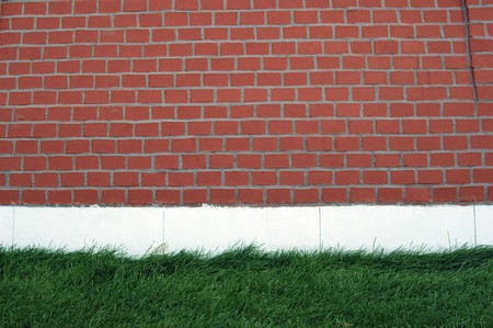 Green grass against a red brick wall photo