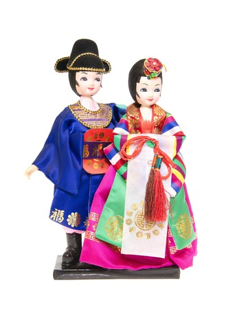 The Korean doll on a white background close up