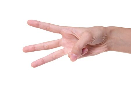 Number 3 designated by fingers on a white background Stock Photo - 7728488