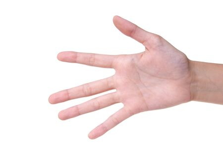 Number 5 designated by fingers on a white background Stock Photo - 7728489