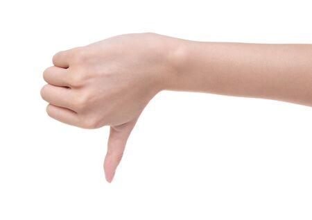 disapproving: Disapproving gesture of a hand on a white background Stock Photo