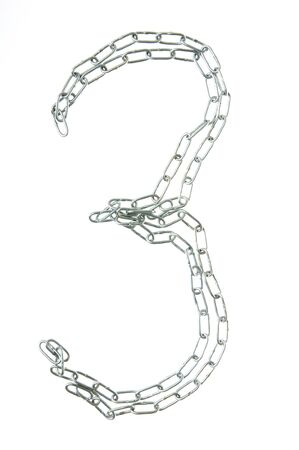 Figure 3 from a metal chain isolated on the white photo