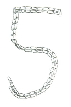 Figure 5 from a metal chain isolated on the white Stock Photo - 7877511