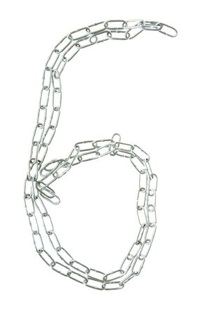 Figure 6 from a metal chain isolated on the white photo