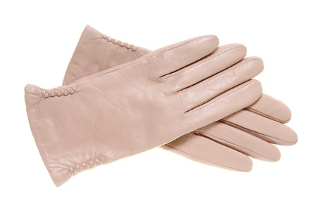 Beige leather gloves isolated on the white photo