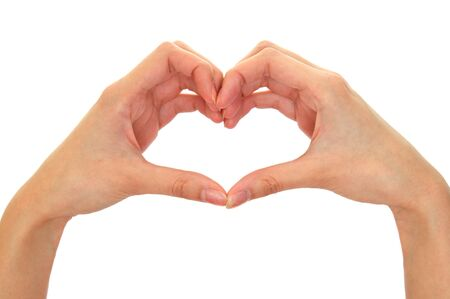 symbols metaphors: Heart from fingers isolated on the white