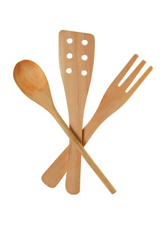 Set from wooden kitchen devices isolated on the white Stock Photo - 8065028