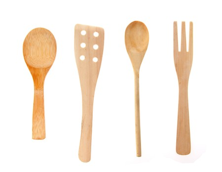 Set from wooden kitchen devices isolated on the white Stock Photo - 8130975