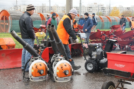 disctrict: RUSSIA, MOSCOW - OCT 30: Exhibition of technics for cleaning of streets in SVAO disctrict