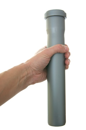 Gray plastic pipes isolated on the white photo