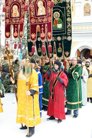 RUSSIA, MOSCOW - JAN 19: Orthodox Christians participate in a christening holiday