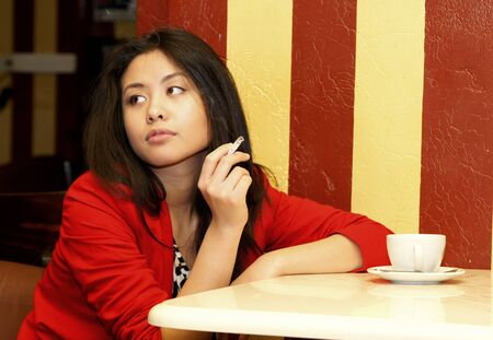 Portrait of the nice Asian girl . photo
