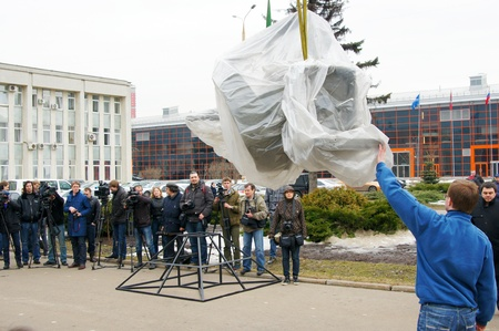 APRIL 07: Workers establish a monument.Monument opening to the first cosmonaut Yury Gagarin april 70, 2011 in Moscow, Russia