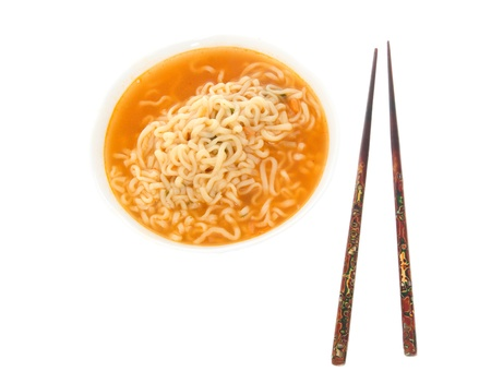 chopstick: Japanese noodles and sticks isolated on the white Stock Photo