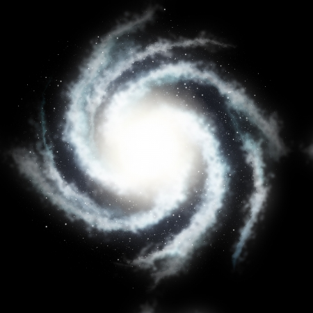 blue spiral: Mysterious helicoid galaxy and the black star sky Stock Photo