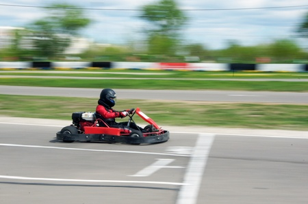 MOSCOW - MAY 09:  Young Racers participate in  go-cart racing devoted to a Victory Day holiday on MAY 09, 2011 in Moscow