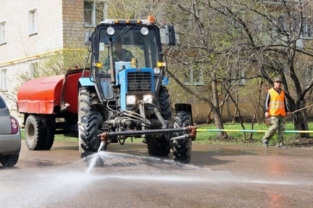 street cleaning machine clears street in Moscow