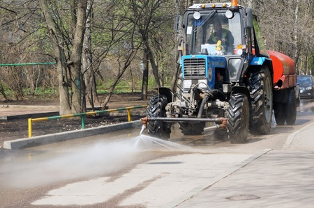 dry cleaned: street cleaning machine clears street in Moscow