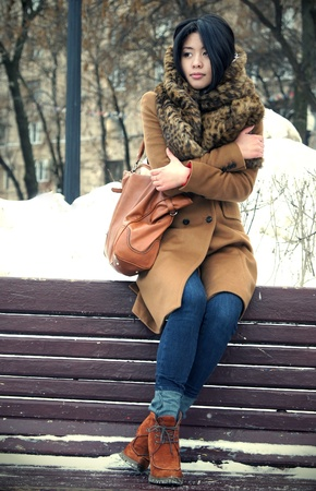 The fine Vietnamese girl sits in the winter on a bench in park Stock Photo - 10355796