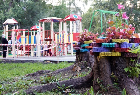 New childrens playground with playing children in Moscow Stock Photo - 10379334