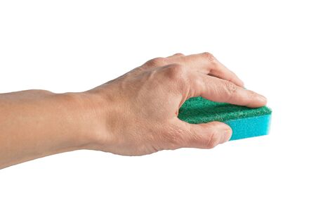 Cleaning sponge in the human hand, isolated on the white Stock Photo - 10394610